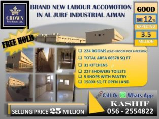 HOT DEAL! 15% ROI BRAND NEW 224 ROOMS 9 SHOWROOMS LABOUR ACCOMODATION IN AL JURF 20